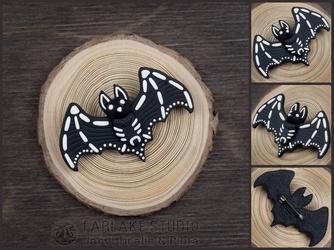 Fruit bat skeleton (B/W) brooch - for sale