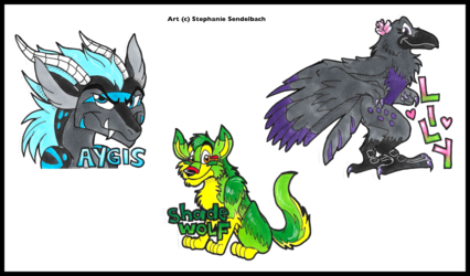 Aygis, Shade Wolf, and Lily Badges