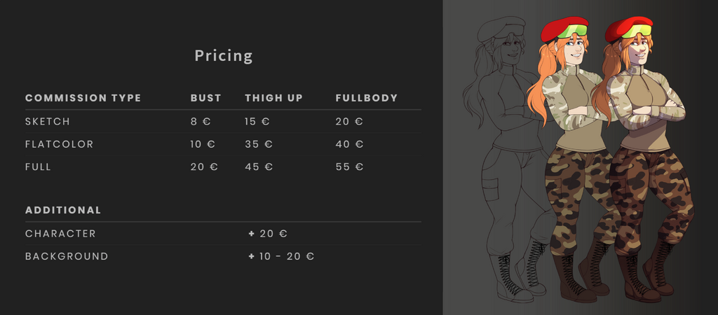 Featured image: commission pricesheet 2020