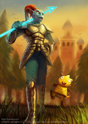 Fanart - Undyne and Monster kid