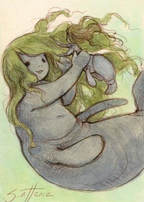 Featured image: Manatee Mermaid Child Art Card