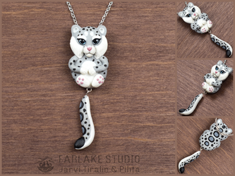 Chibi snow leopard full body pendant - for sale