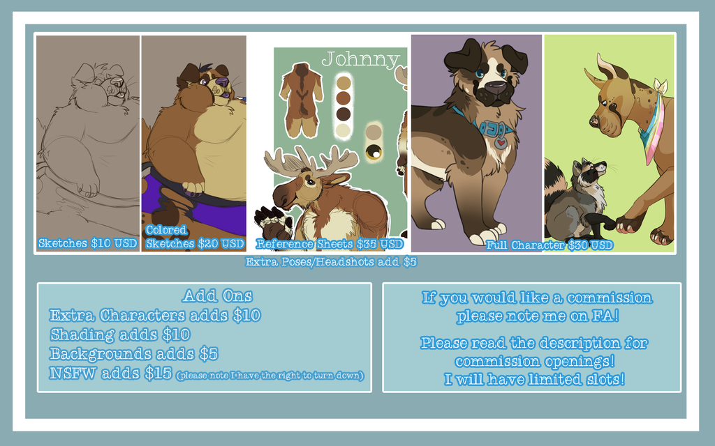 Most recent image: Commission Price Sheet 2015