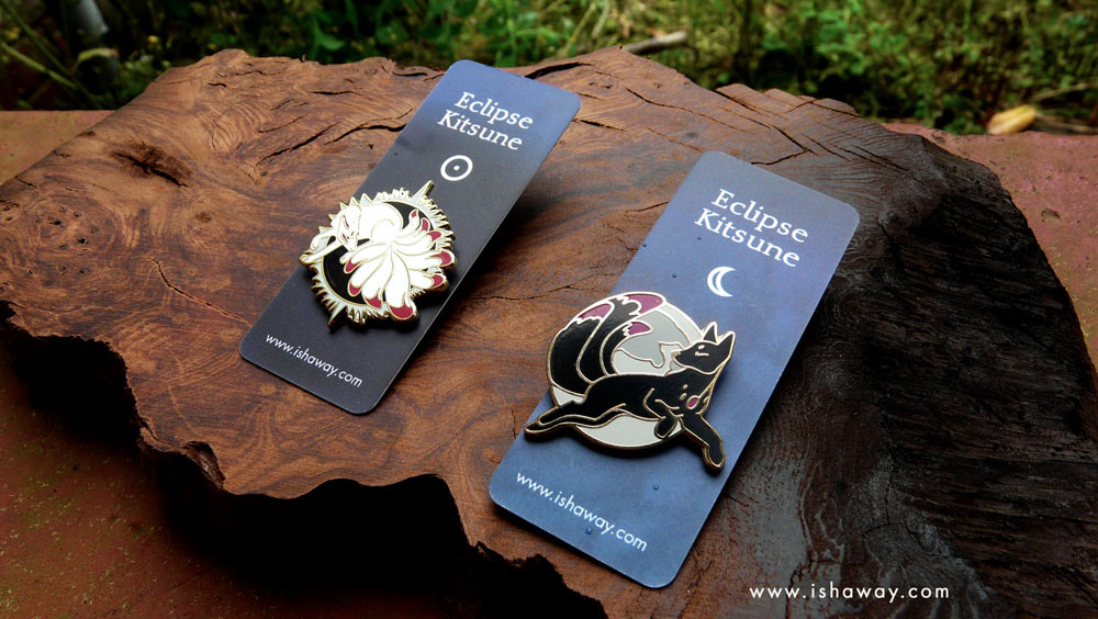 Solar and Lunar Kitsune Enamel Pins