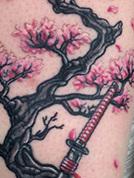 Samurai Cherry Blossoms Coverup Tattoo