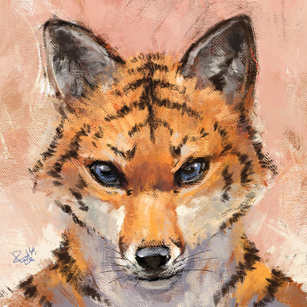 Portrait of a tiger fox - Art by Racoonwolf
