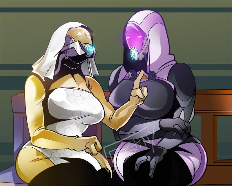 Sitting Quarians (COMMISSION)
