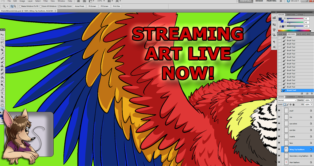 ART STREAM Shading Feathers for Video Game Monster: Parrot