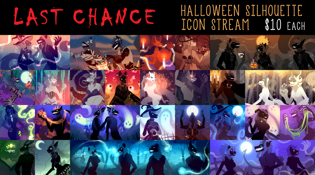 LAST CHANCE Halloween Silhouette Icons $10