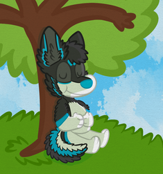 A Contened Leo rests at a tree.