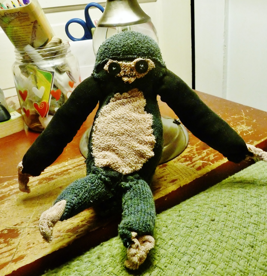 Sock Sloth! Black and Tan Plushie