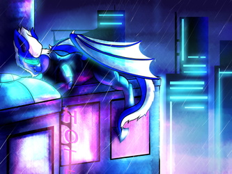 NOT MY ART: Neon, Rain and Rubber by Chaosmauser