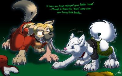 Nightfirer and Foxlightning Halloween doggos