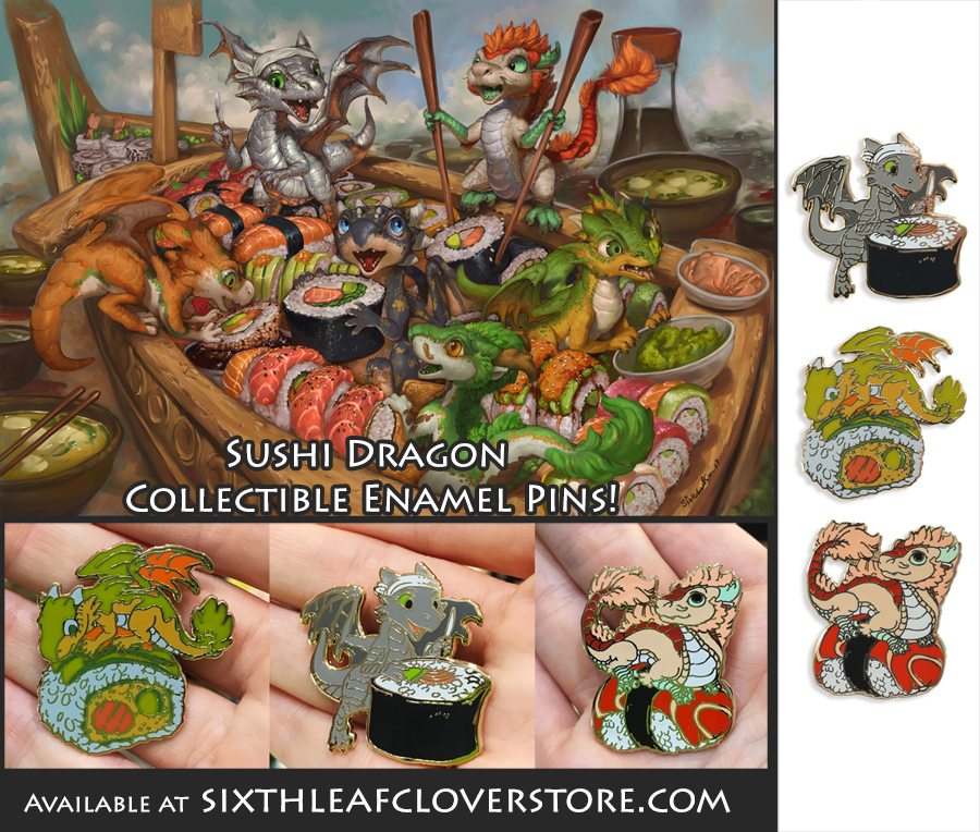 The Sushi Dragon Rollers Enamel Pins