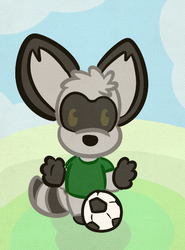 (Commisison) A PeterRaccoon plays with a soccerball!