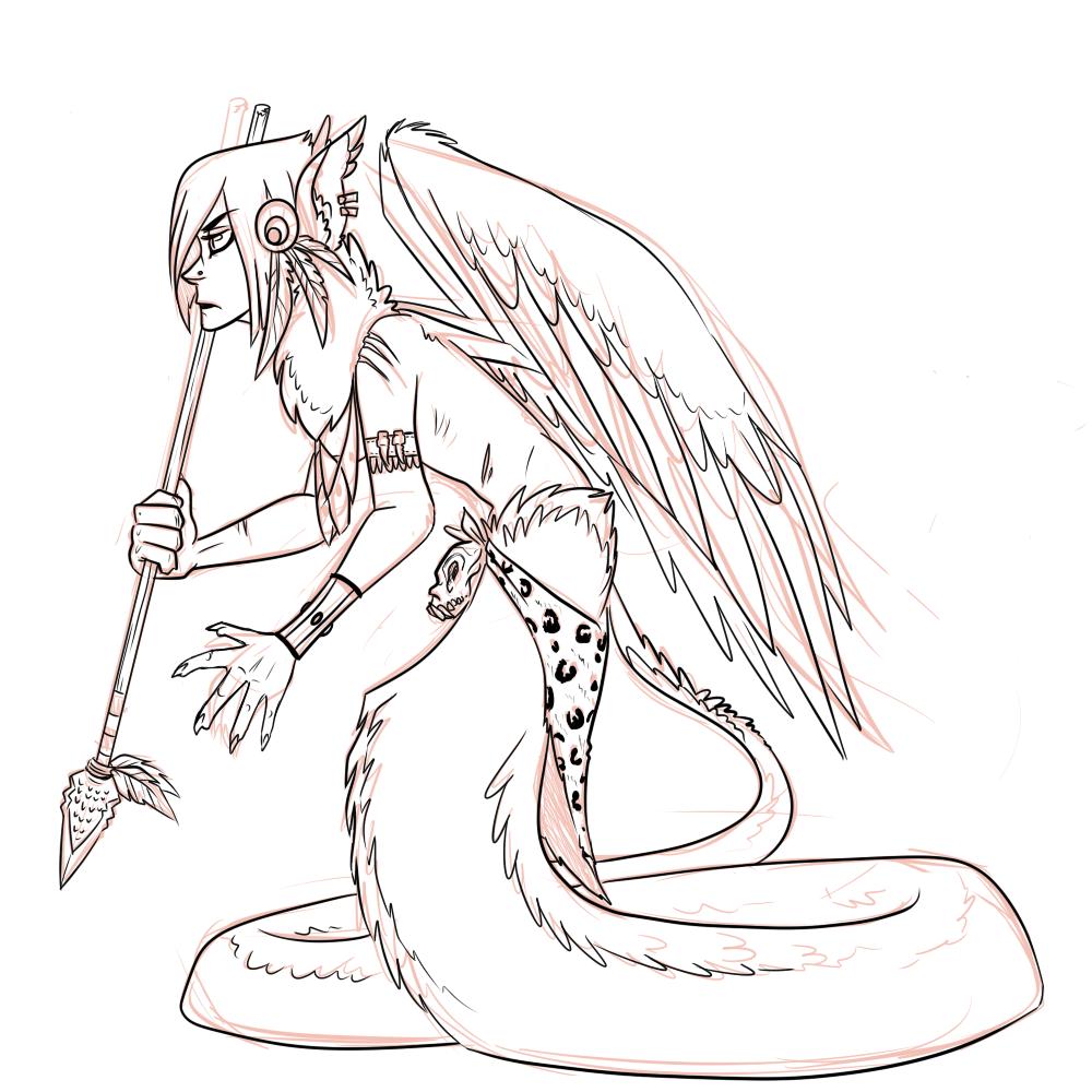 Quetzalcoatl naga lineart