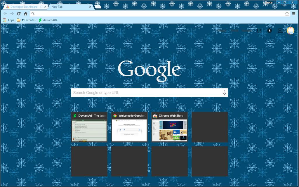 Christmas Pixel Snowflake - Google Chrome Theme