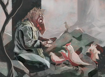 A Kachina tells the birds a story