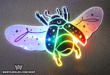 Holographic Shimmer Scarab Beetle Sticker Design!