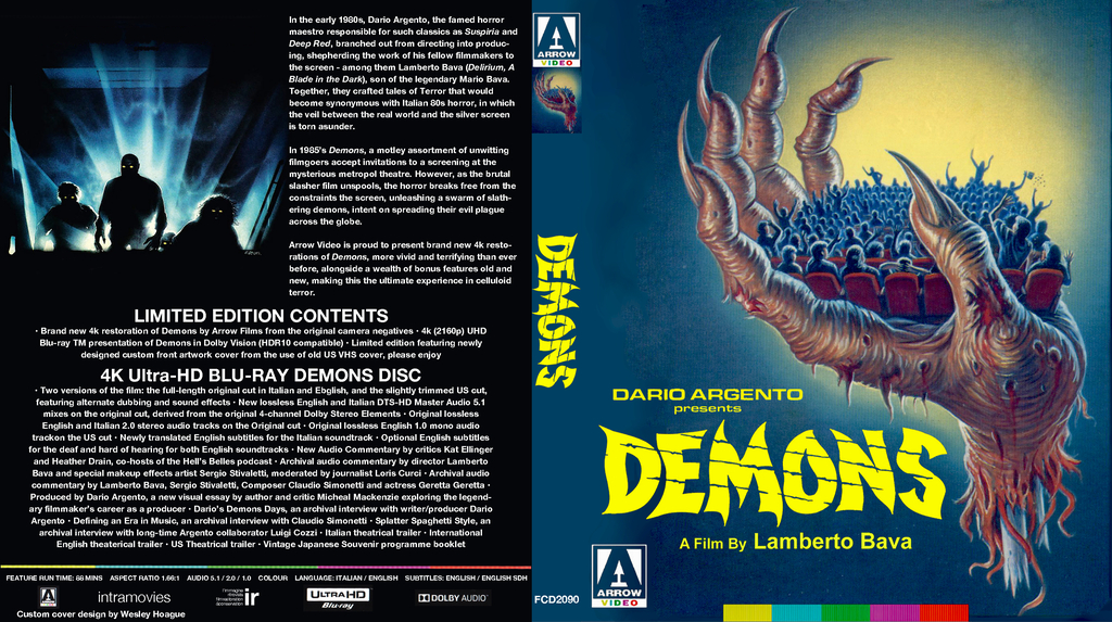 Most recent image: Demons 1985 ARROW 4k cover for homeless 4k discs
