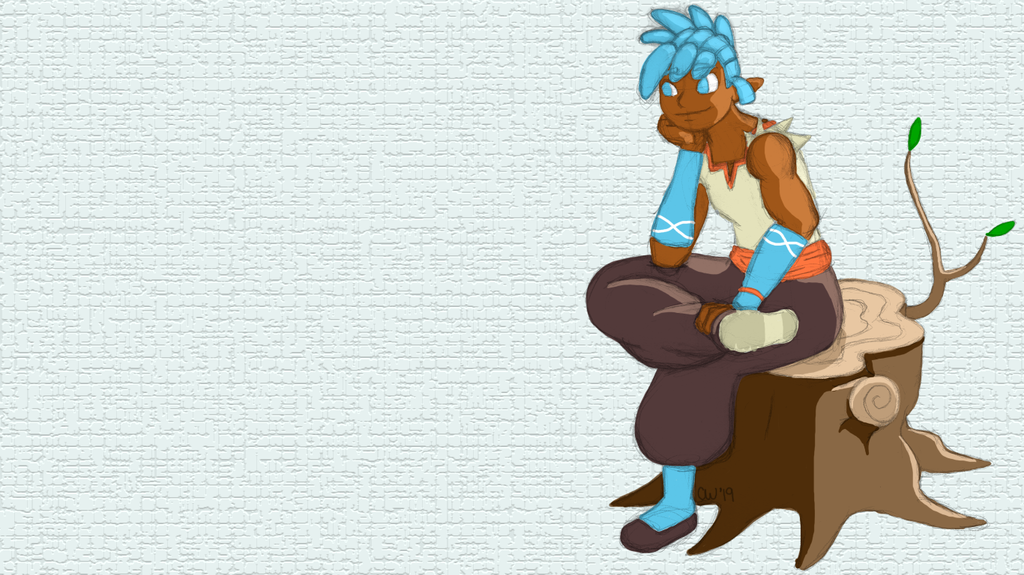 Featured image: Kaida sitting on a stump