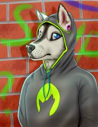 Husky guy in a hoodie