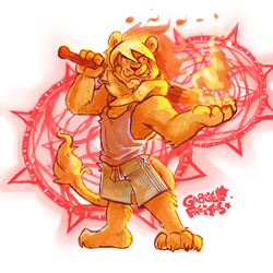 Fire Lion - by GafreitasArt