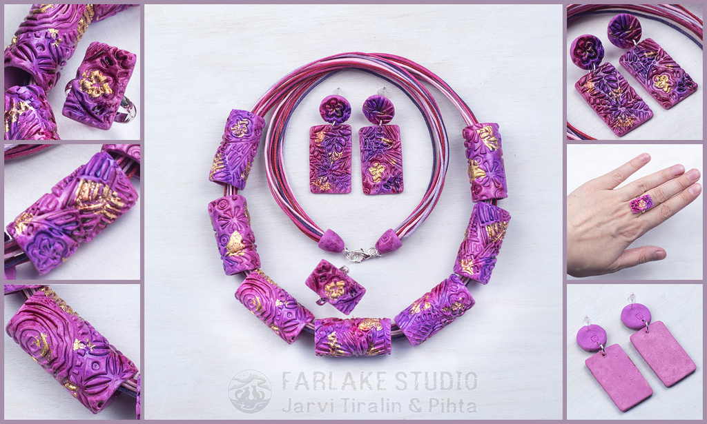 Pink jewelry set with enamel