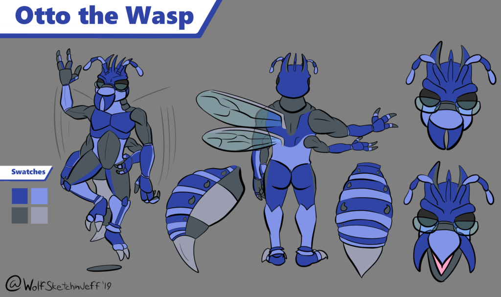 Most recent image: Otto the wasp Ref sheet