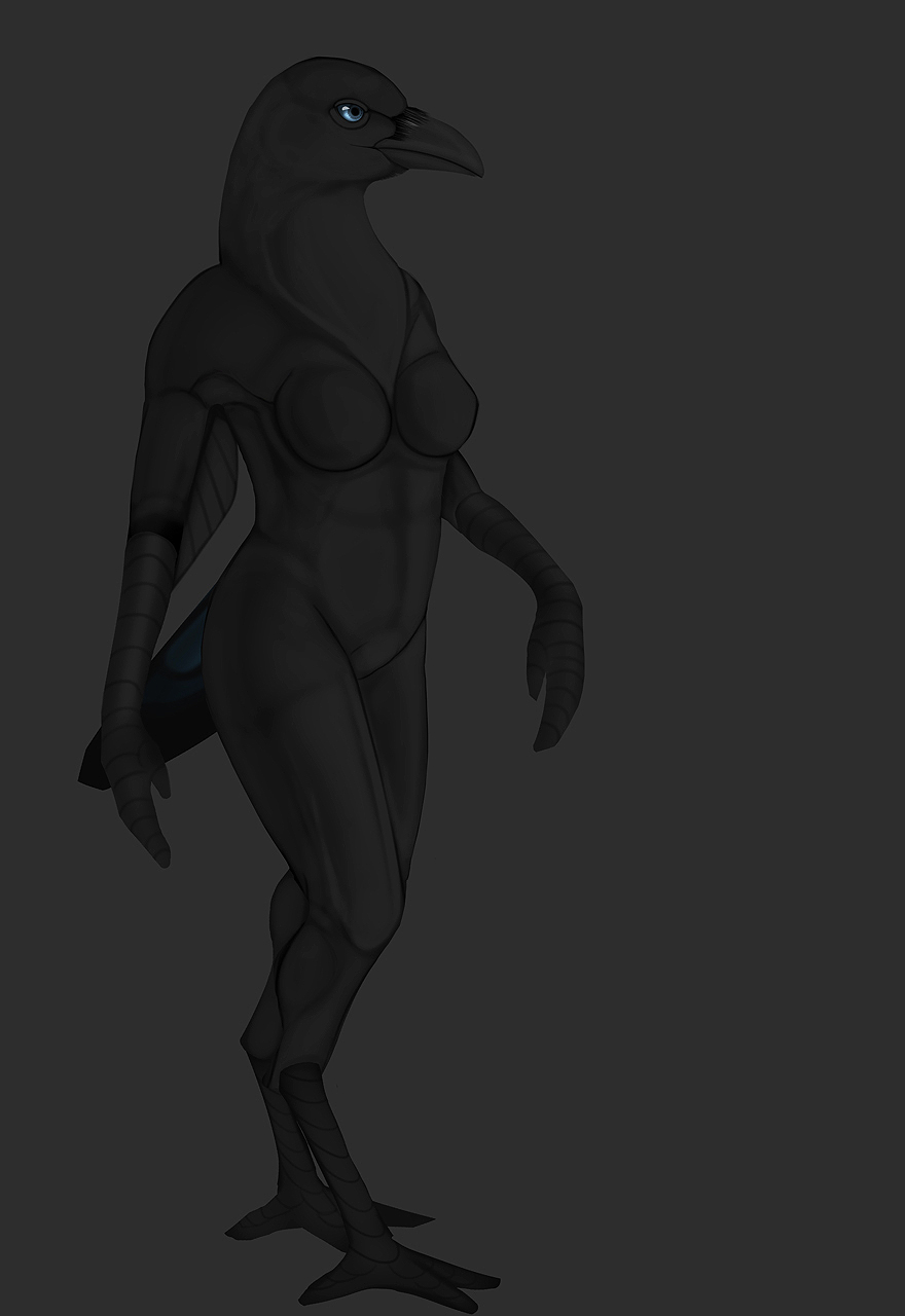 Most recent image: Anthro Crow (very early WIP)