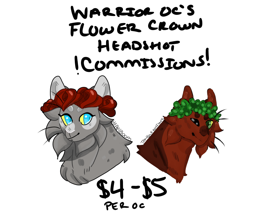 Warrior OC flowercrown headshot commissions