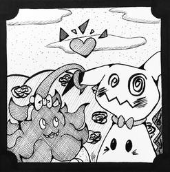 PokeInktober #31--Mimikyu & Pumpkaboo