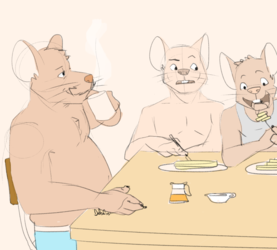 Breakfast with the rat family