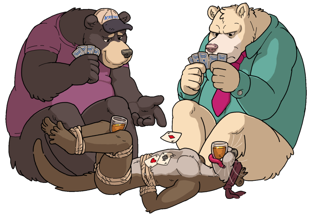 """""""Two bears playing cards on an Otter"""""""