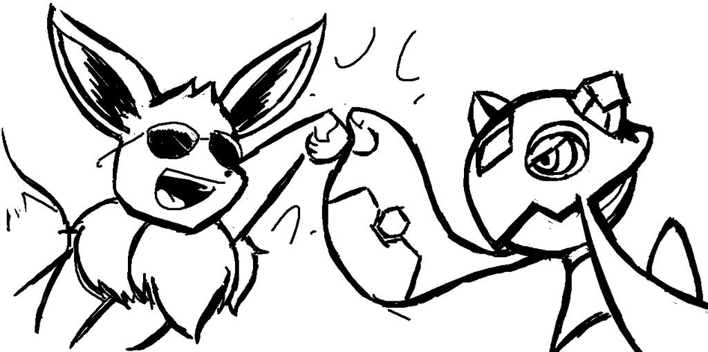 Eevee and Froslass Brofist