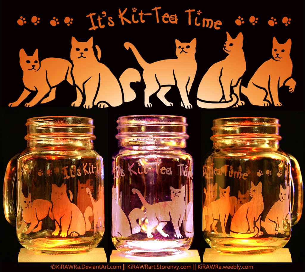 Etched Glass - Kit-Tea Time!