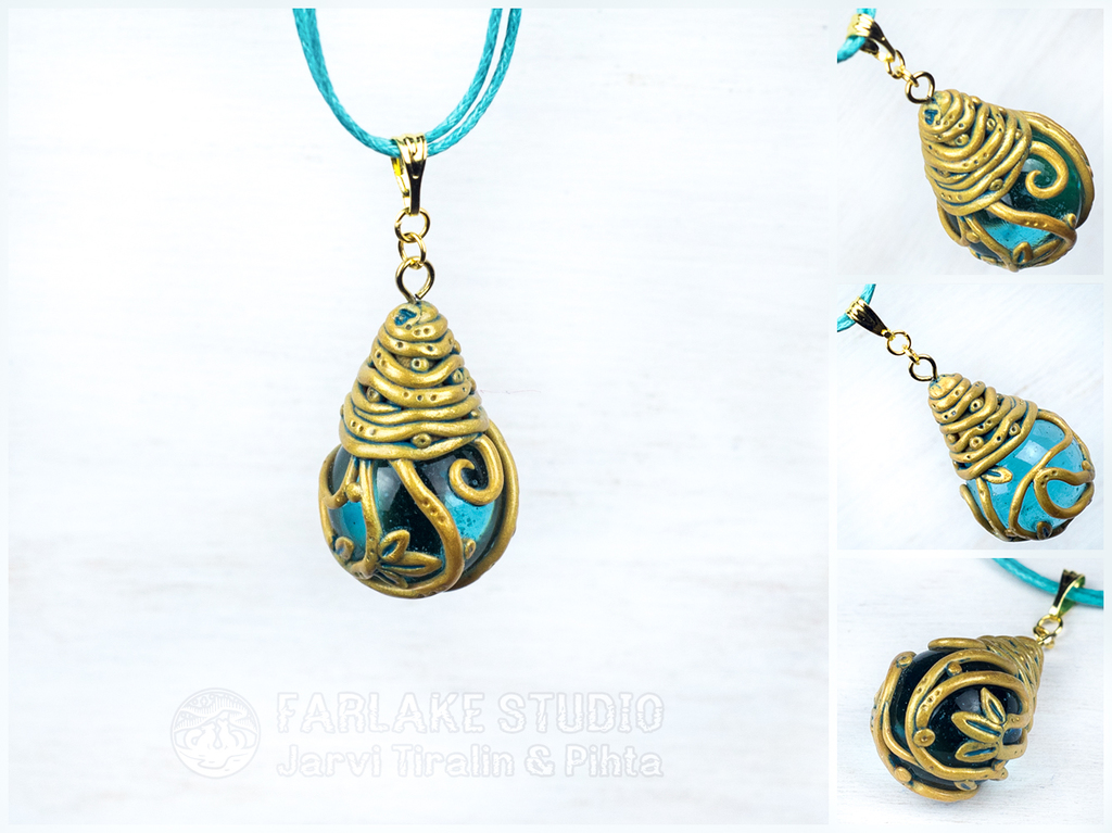 Golden-turquoise drop pendant for morteraphan