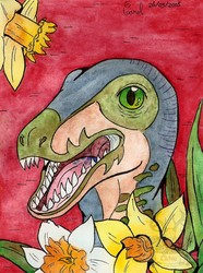[Spring series #4] Albert, the velociraptor and Daffodils