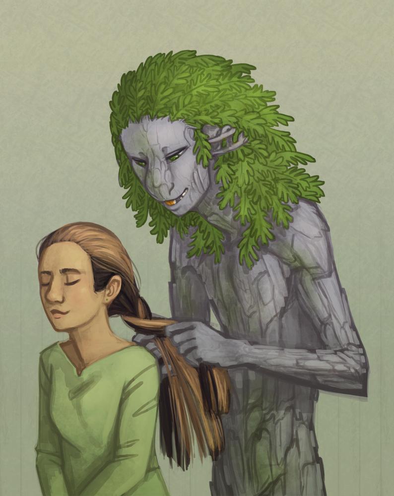 Abbey Braiding Eleanor's Hair