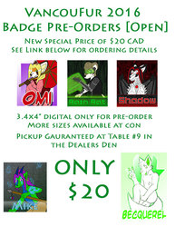 Open for VancouFur 2016 Badge Pre-orders