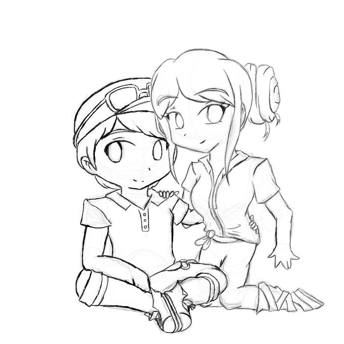 audi chibi teasing pleasing sketch - Coloring Pages Anime Couples Chibi