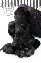 Pawboots seated (aka I get to have nice things too)