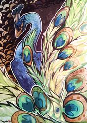 Ukiyo-e style, Peacock.