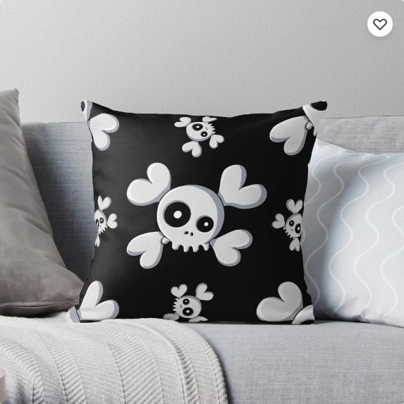 'Cute Skullz' Throw Pillow +More