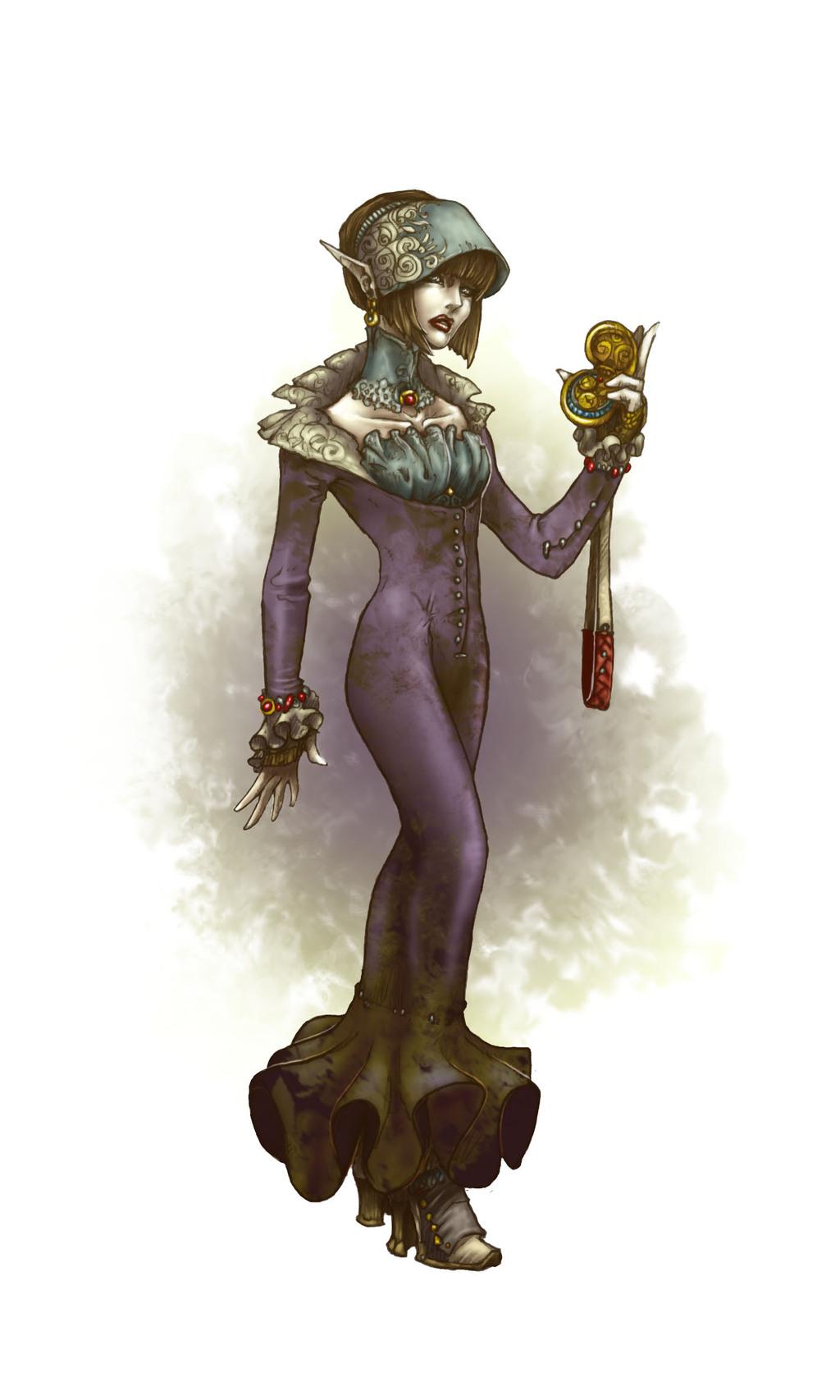 Tech elf in a purple dress