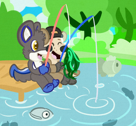 (Commission) A Dman and a Wro go fishing!