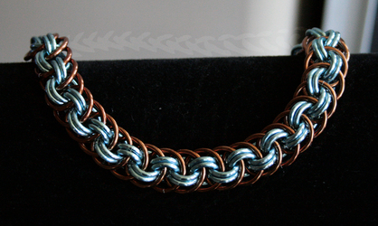 Bronze and Sky Blue Viper Basket Bracelet - For Sale