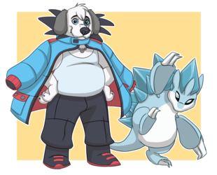 Ice Sandslash and Woofric by Greykitty