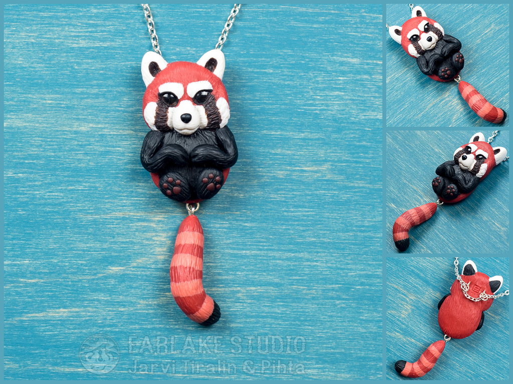 Chibi red panda full body pendant - for sale