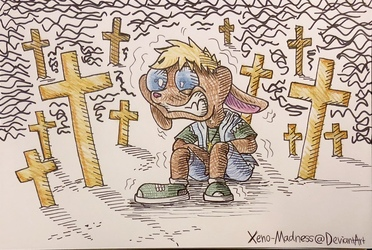 Inktober 23: Surrounded by Crosses